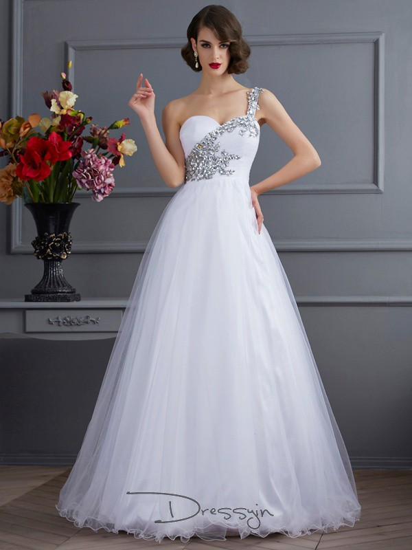 Ball Gown Sleeveless Beading Applique Floor-Length Elastic Woven Satin One-Shoulder Dresses
