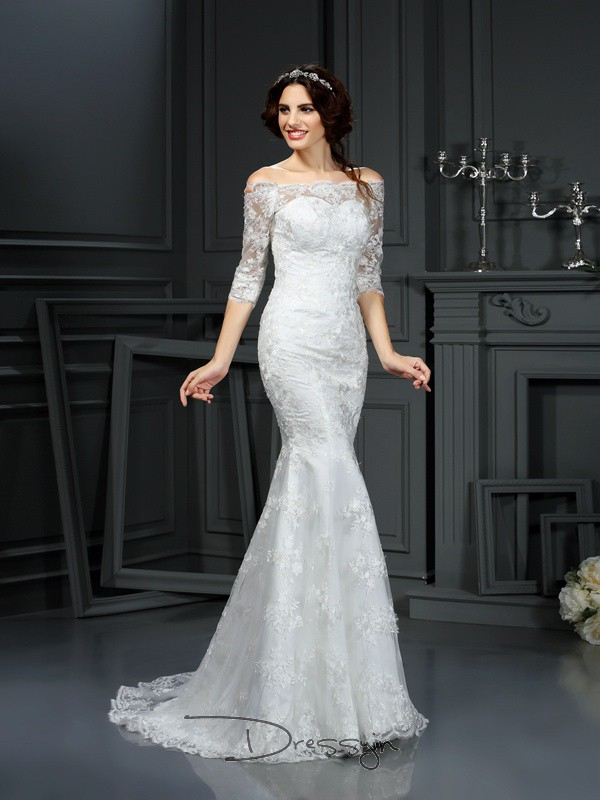 Sheath/Column 1/2 Sleeves Lace Lace Off-the-Shoulder Sweep/Brush Train Wedding Dresses