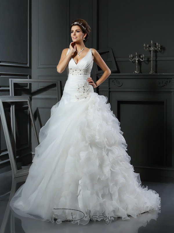 Ball Gown Sleeveless Organza Ruffles V-neck Court Train Wedding Dresses