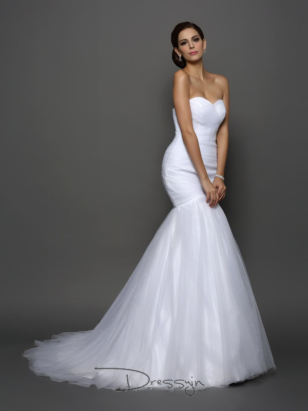 Trumpet/Mermaid Sleeveless Net Pleats Sweetheart Court Train Wedding Dresses