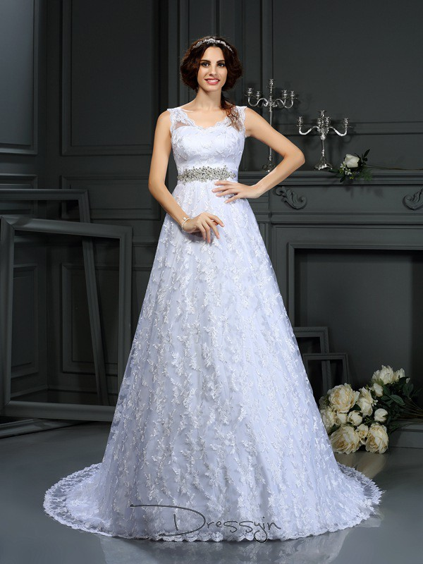 A-Line/Princess Sleeveless Satin Lace V-neck Court Train Wedding Dresses