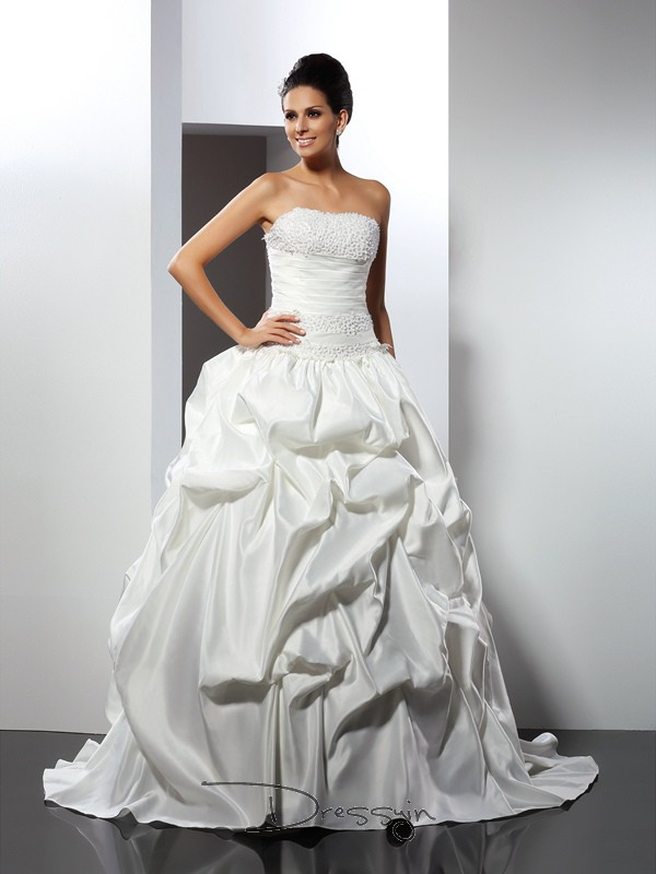 Ball Gown Sleeveless Satin Cathedral Train Strapless Wedding Dresses
