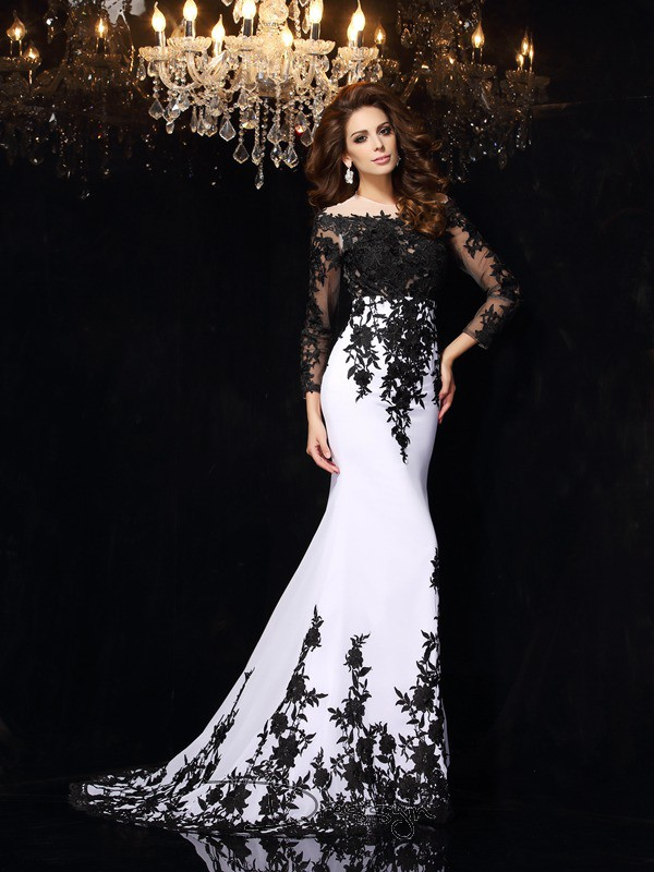 Sheath/Column Long Sleeves Lace Chiffon Court Train Scoop Dresses