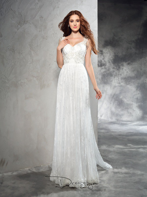 A-Line/Princess Sleeveless Lace Court Train Lace Straps Wedding Dresses