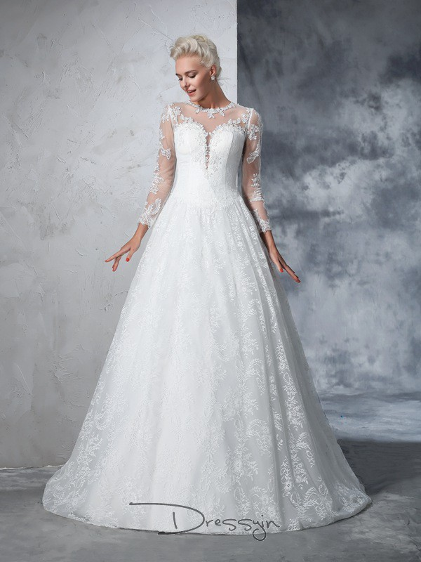 Ball Gown Long Sleeves Lace Court Train Lace Jewel Wedding Dresses