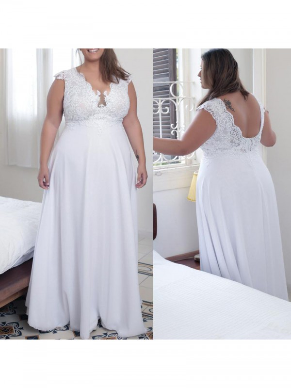 A-Line/Princess V-neck Applique Floor-Length Chiffon Plus Size Dress