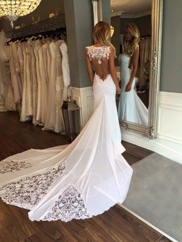 Trumpet/Mermaid Cathedral Train Applique Sweetheart Sleeveless Lace Wedding Dresses