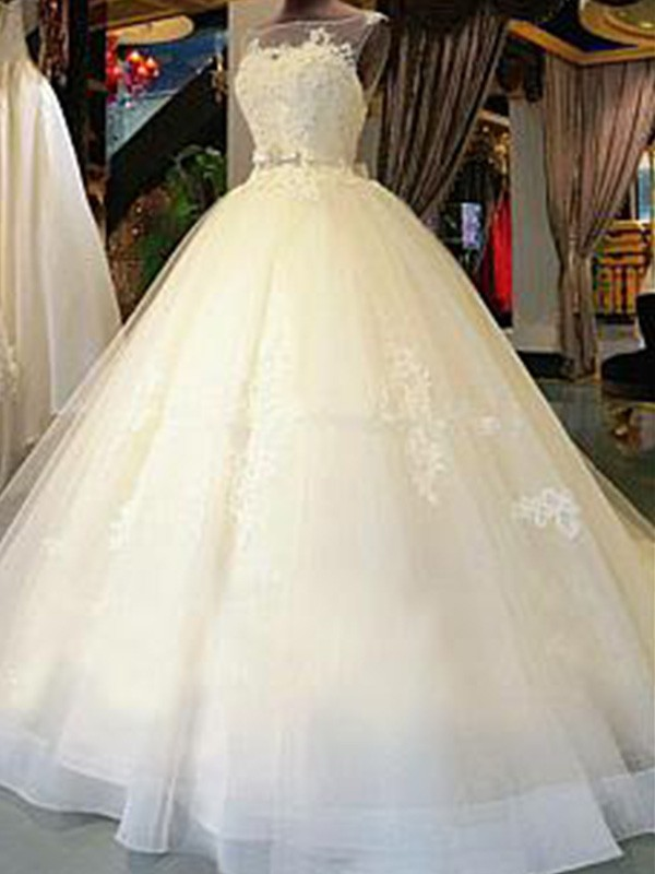 Ball Gown Cathedral Train Applique Scoop Sleeveless Tulle Wedding Dresses