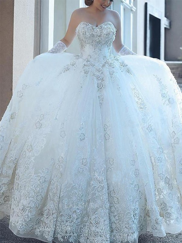 Ball Gown Cathedral Train Applique Sweetheart Sleeveless Tulle Wedding Dresses