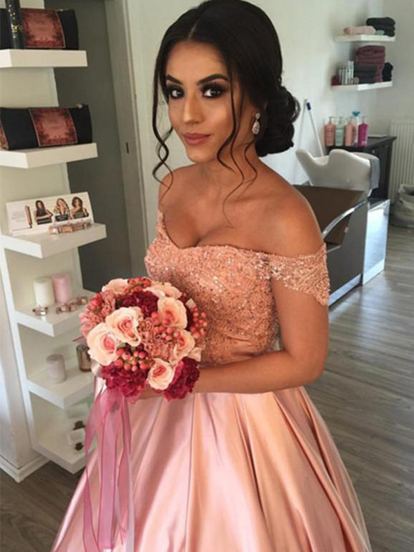 Ball Gown Cathedral Train Ruffles Off-the-Shoulder Sleeveless Satin Wedding Dresses
