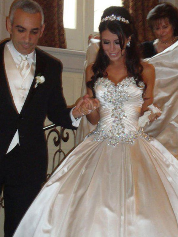 Ball Gown Cathedral Train Ruffles Sweetheart Sleeveless Satin Wedding Dresses