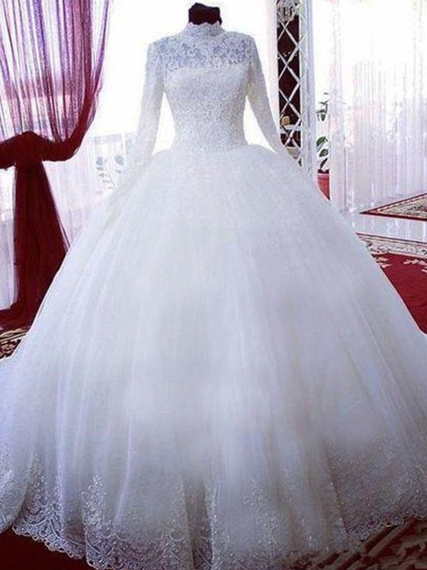 Ball Gown Chapel Train Lace High Neck Long Sleeves Tulle Wedding Dresses