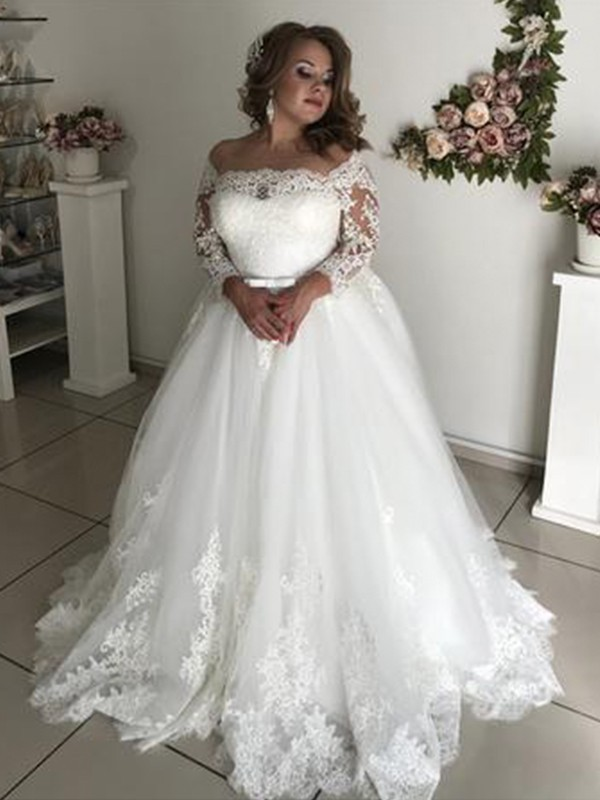 A-Line/Princess Lace Sweep/Brush Train Off-the-Shoulder Long Sleeves Tulle Wedding Dresses