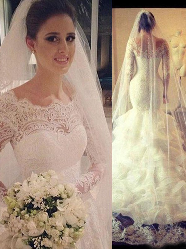 Trumpet/Mermaid Scoop Long Sleeves Lace Court Train Tulle Wedding Dress
