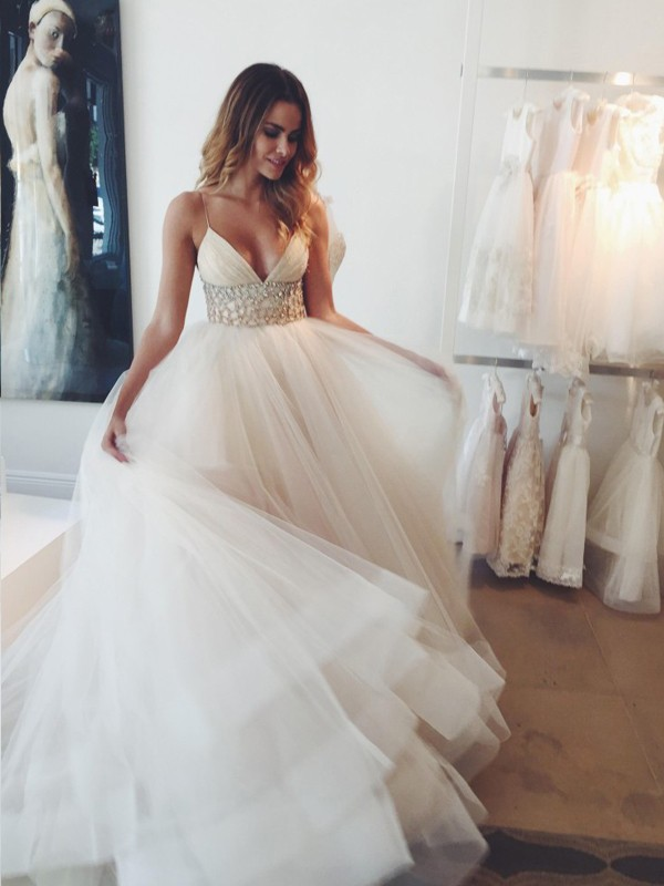 Ball Gown Spaghetti Straps Court Train Tulle Sleeveless Crystal Wedding Dresses