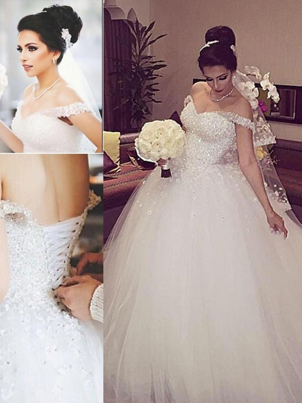 Ball Gown Off-the-Shoulder Lace Court Train Tulle Wedding Dress