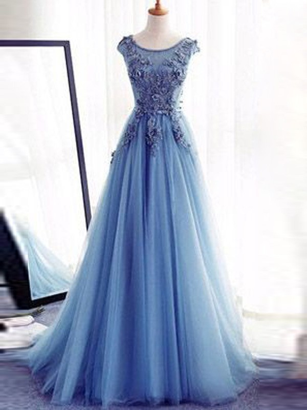 Ball Gown Jewel Sweep/Brush Train Tulle Sleeveless Applique Dresses
