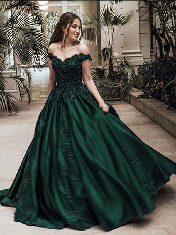 Ball Gown Off-the-Shoulder Floor-Length Satin Sleeveless Lace Dresses