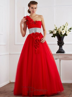 Ball Gown Sleeveless Hand-Made Flower Beading Floor-Length Net One-Shoulder Dresses