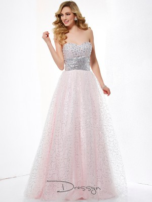 Ball Gown Sleeveless Floor-Length Net Satin Sweetheart Dresses