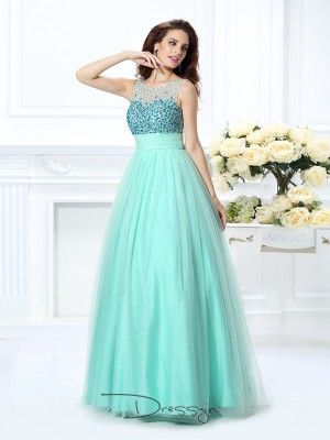 Ball Gown Sleeveless Chiffon Beading Bateau Floor-Length Dresses