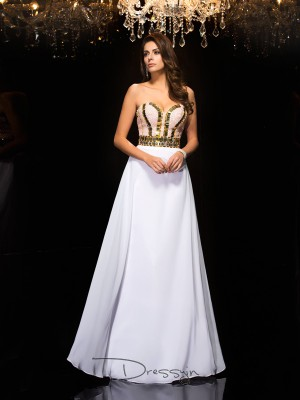 A-Line/Princess Sleeveless Sequin Floor-Length Chiffon Sweetheart Dresses