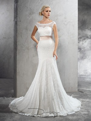 Sheath/Column Sleeveless Sash/Ribbon/Belt Court Train Lace Sheer Neck Wedding Dresses