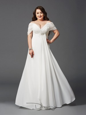 A-Line/Princess Short Sleeves Ruched Floor-Length Chiffon Off-the-Shoulder Plus Size Dresses
