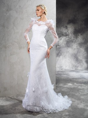 Sheath/Column Long Sleeves Hand-Made Flower Court Train Satin Sheer Neck Wedding Dresses