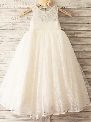 A-Line/Princess Ankle-Length Lace Scoop Sleeveless Lace Flower Girl Dress