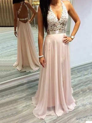A-Line/Princess Chiffon Halter Sleeveless Sweep/Brush Train Lace Dresses
