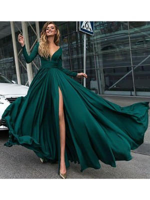 A-Line/Princess Satin Chiffon Ruffles Floor-Length Long Sleeves V-Neck Dresses