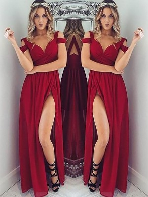 A-Line/Princess Chiffon Ruched Floor-Length Sleeveless Off-the-Shoulder Dresses