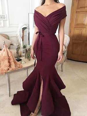 Trumpet/Mermaid Satin Ruched Floor-Length Sleeveless Off-the-Shoulder Dresses
