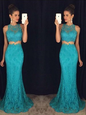 Sheath/Column Scoop Floor-Length Lace Sleeveless Dresses