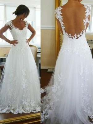 A-Line/Princess V-neck Sweep/Brush Train Tulle Sleeveless Lace Wedding Dresses
