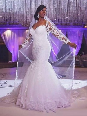 Trumpet/Mermaid Sweetheart Sweep/Brush Train Tulle Long Sleeves Applique Wedding Dresses
