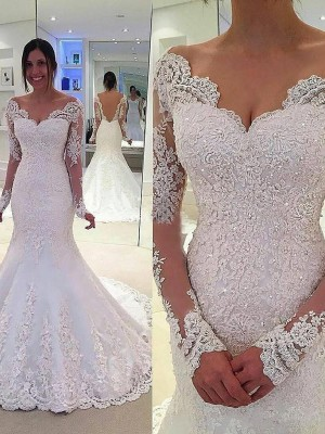 Trumpet/Mermaid V-neck Court Train Tulle Long Sleeves Lace Wedding Dresses