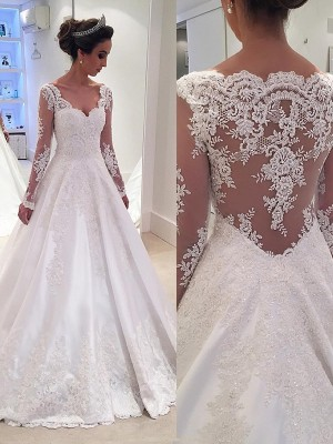 Ball Gown V-neck Court Train Satin Long Sleeves Lace Wedding Dresses