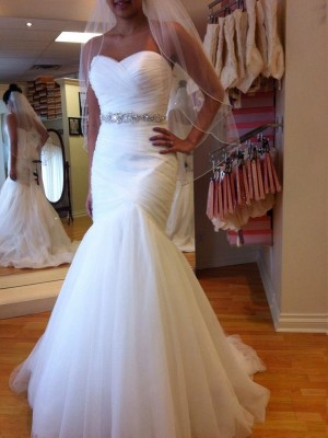 Trumpet/Mermaid Sweetheart Court Train Tulle Sleeveless Beading Wedding Dresses