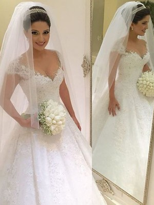 Ball Gown V-neck Floor-Length Tulle Sleeveless Beading Wedding Dresses