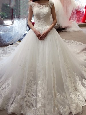 Ball Gown Bateau Chapel Train Tulle Sleeveless Applique Wedding Dresses