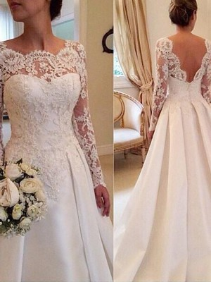 Ball Gown Scoop Court Train Satin Long Sleeves Lace Wedding Dresses