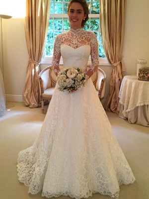 Ball Gown High Neck Court Train Lace Long Sleeves Lace Wedding Dresses