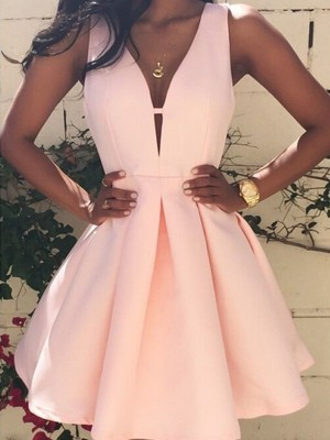 A-Line/Princess V-neck Short/Mini Satin Sleeveless Dresses
