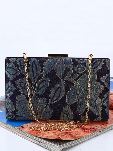 Vintage Leaf pattern Silk Evening/Party Handbags
