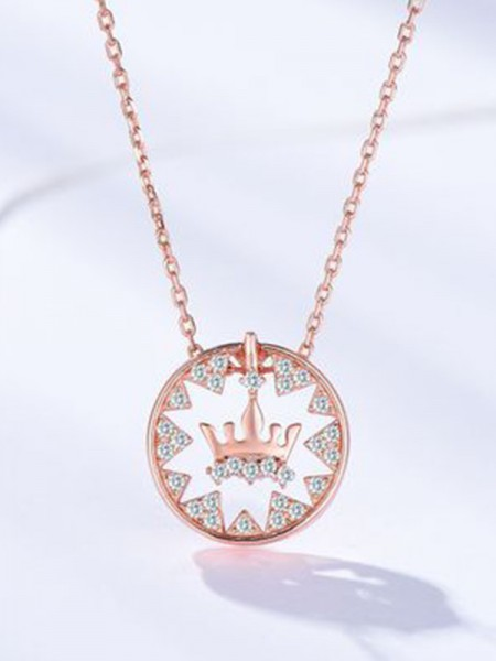 Women's S925 Silver With Crown Fashion Necklaces