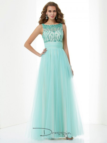 A-Line/Princess Sleeveless Beading Floor-Length Elastic Woven Satin Net Bateau Dresses