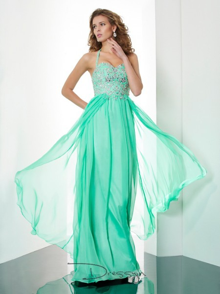 A-Line/Princess Sleeveless Beading Applique Sweep/Brush Train Chiffon Halter Dresses
