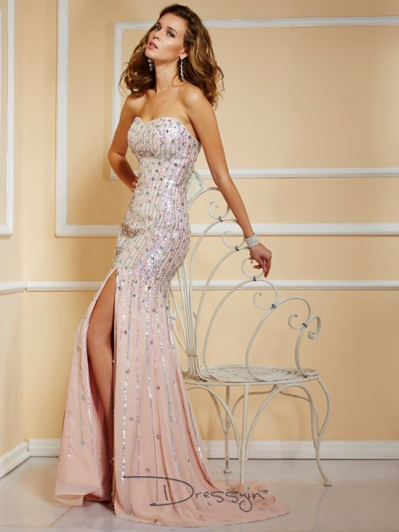 A-Line/Princess Sleeveless Beading Sweep/Brush Train Chiffon Strapless Dresses
